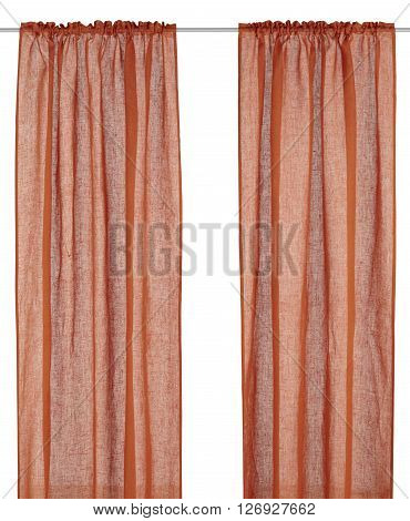 Classic red translucent fabric flax curtain. Isolated on white background. Include path.