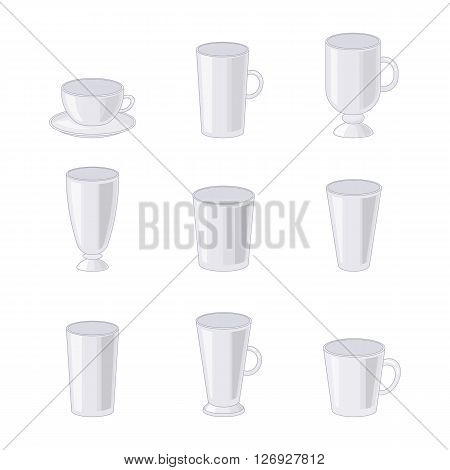 Different transparent glasses isolated on white background. Glass cups and goblets in cartoon style. vector illustration.