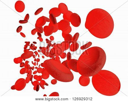 Red blood cells erythrocytes in interior of arterial or capillary blood vessel. Showing endothelial cells and blood flow or stream. Isolated on white background. Include clipped path.