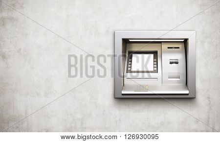 Built-in ATM machine with blank display on concrete background. Mock up 3D Rendering