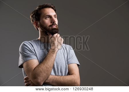 Male Hand At Chin
