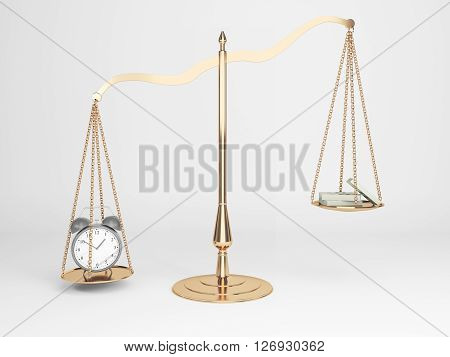 Golden justice scales with alarm clock and cash on light background. 3D Rendering