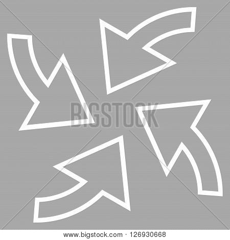 Cyclone Arrows vector icon. Style is thin line icon symbol, white color, silver background.
