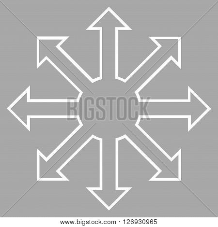 Enlarge Arrows vector icon. Style is outline icon symbol, white color, silver background.