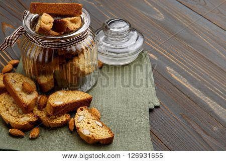 Italian cantuccini cookie with almond filling. Studio shot, isolated on wooden background
