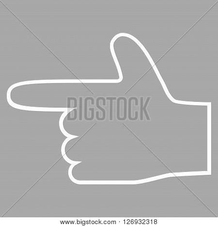 Hand Pointer Left vector icon. Style is contour icon symbol, white color, silver background.
