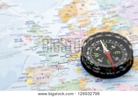 Maps and Compass Travel destination - Holiday concept