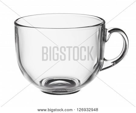 Empty glass jumbo cup isolated on white background with clipping path.