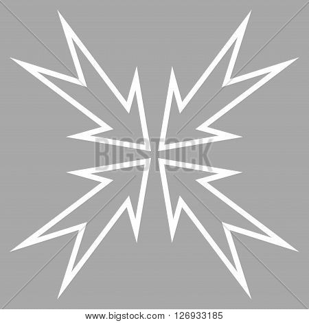 Meeting Point vector icon. Style is thin line icon symbol, white color, silver background.