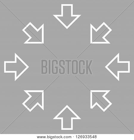 Pressure Arrows vector icon. Style is outline icon symbol, white color, silver background.