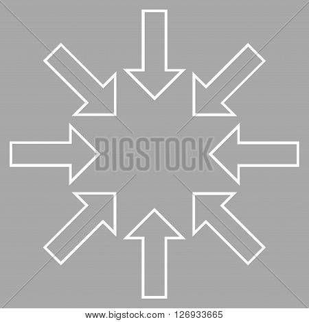 Pressure Arrows vector icon. Style is thin line icon symbol, white color, silver background.