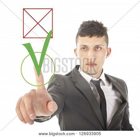 Young businessman choosing yes over no isolated on white background