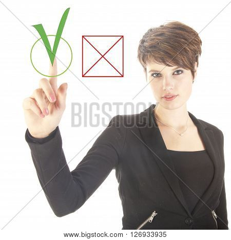 Young businesswoman choosing yes over no isolated on white background