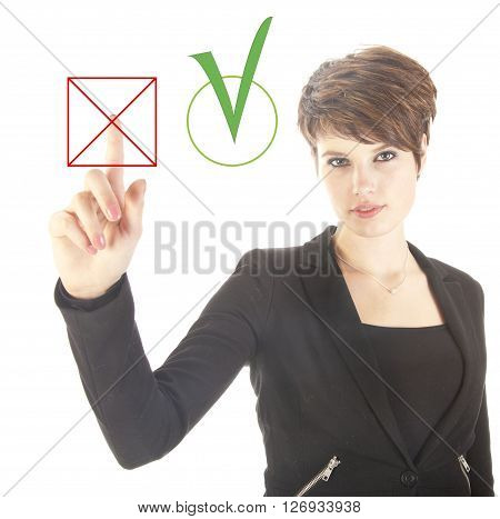 Young businesswoman choosing no over yes isolated on white background