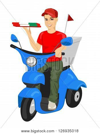 pizza delivery man driving blue scooter while holding cardboard wrapped in the Italian flag