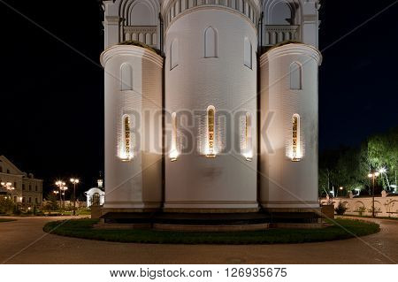The apse of the Church. Orthodox temple complex. Architectural lighting.