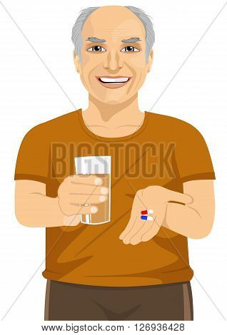 elderly man holding glass of water taking vitamin pills isolated over white background