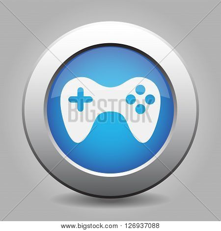 blue metal button - with white gamepad icon