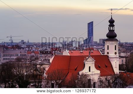 Church and office building in Wroclaw Poland.