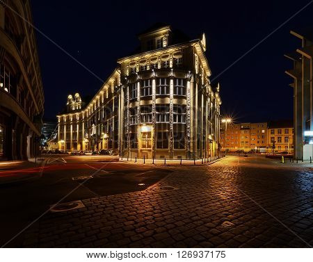 Vintage architecture in old town in Wroclaw Poland in the night.