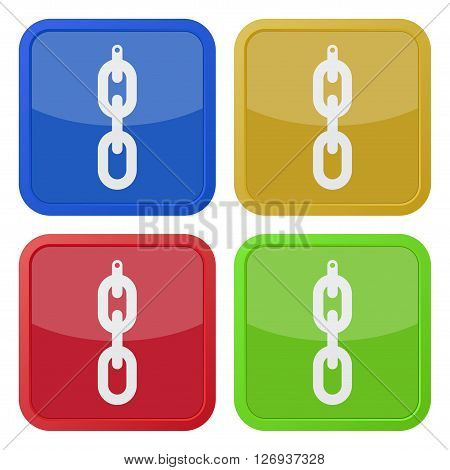 set of four colored square icons - hanging chain with hole