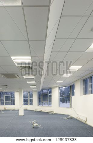 Office repair and finishing facilities. Ceiling lighting and ventilation. Utilities.