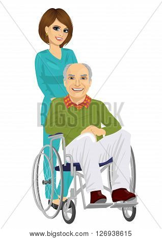 senior patient in wheelchair with beautiful young nurse on white background