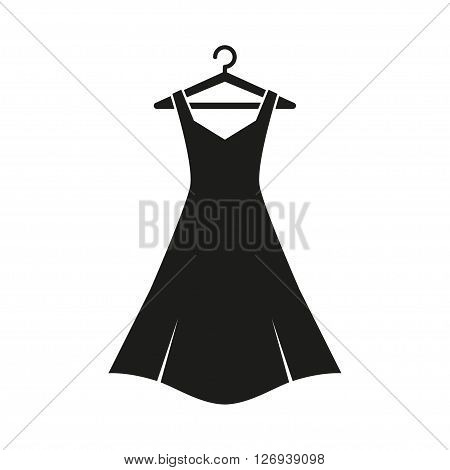 Woman black dress on hanger. Dress Icon