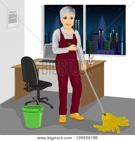 Full length portrait of senior cleaning woman mopping floor in office