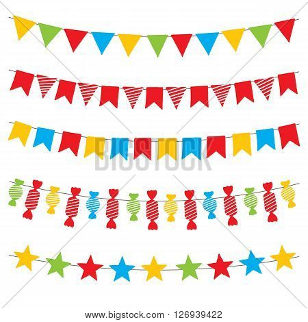 Colorful bunting flags and garlands, hand drawn vector