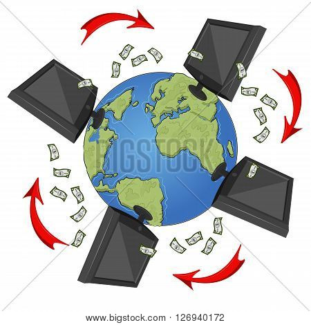 Network concept with monitors, international currency and arrows flying around the earth on white background