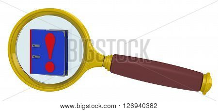 Guide with answers in the magnifying glass. Blue guide with a red exclamation mark in a magnifying glass. Isolated. 3D Illustration