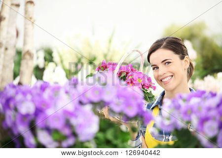 springtime woman smiling with white wicker basket flowers of purple primroses