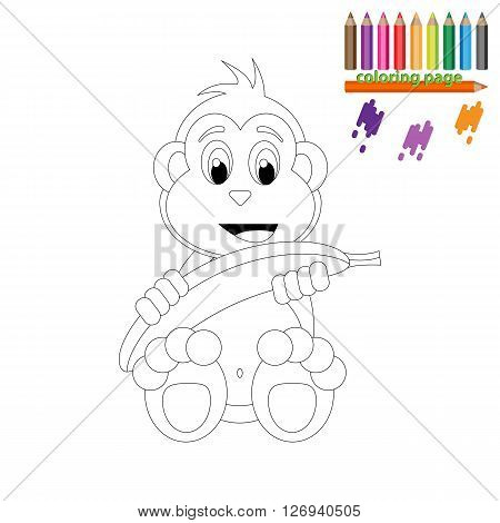 Coloring page. Happy monkey with banana. Cartoon style
