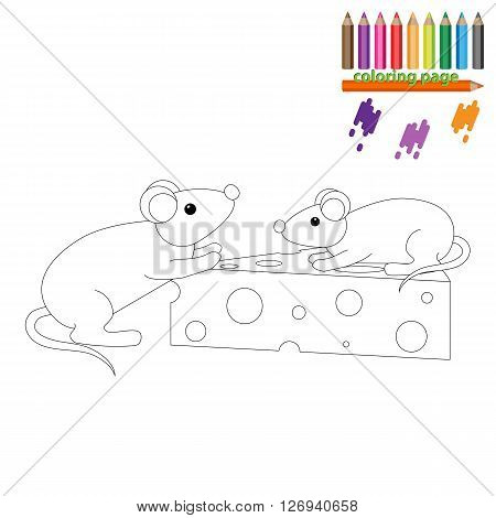 Coloring page. Two mouses with a piece of cheese. Cartoon style