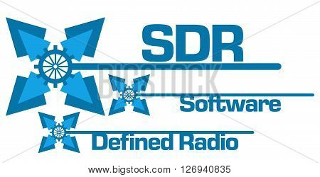 SDR - Software Defined Radio text alphabets written over abstract blue background.