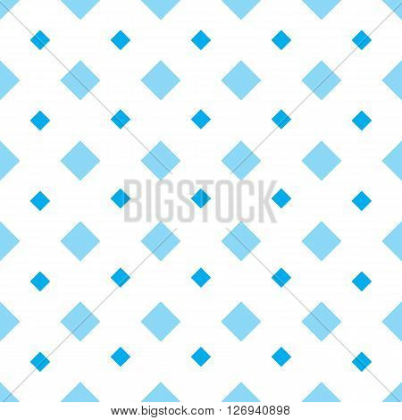 Rhomb vector seamless pattern. Geometric seamless texture with blue rhombs on white background. Rhombic wallpaper design. EPS8 vector illustration. Pattern swatch included.