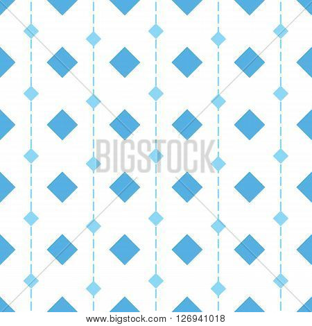 Vector seamless pattern with rhombs. Blue rhombs and vertical dashed lines on white background. Rhombic wallpaper design. EPS8 vector illustration. Pattern swatch included.