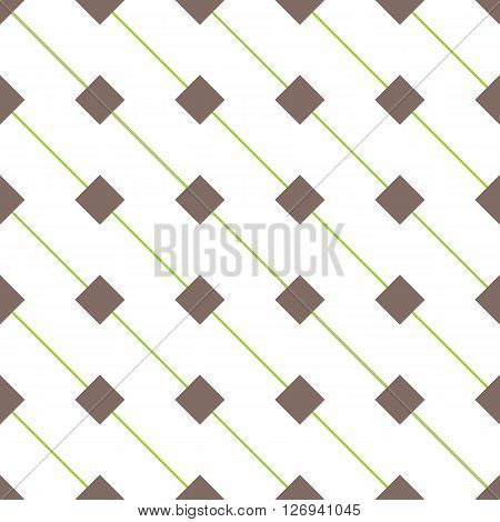 Geometric seamless pattern with rhombs. Brown rhombs and green diagonal lines on white background. Rhombic wallpaper design. EPS8 vector illustration. Pattern swatch included.