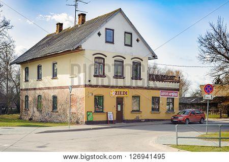 BAUSKA, LATVIA - APRIL 2, 2016: Traditional old private Latvian house in Bauska