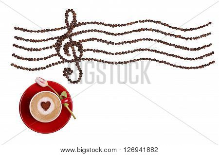 Espresso with red mug a white-red tulips on white, background, heart, coffee beans, treble clef, musical outline.