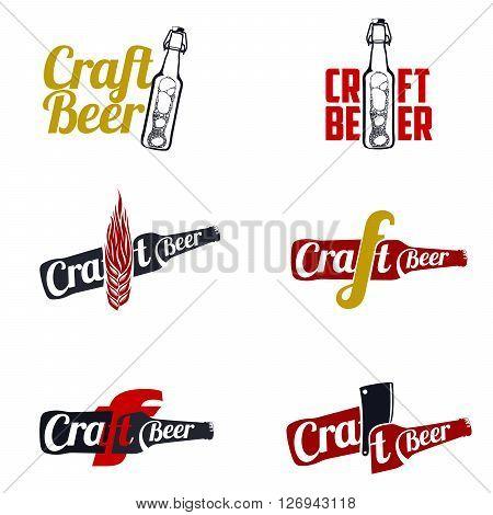 Vintage craft beer, alcohol, ale, brewery, bar, shop emblems and label
