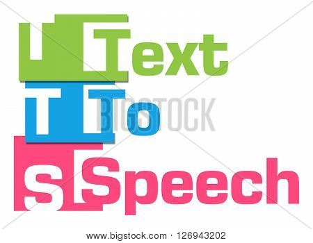 TTS - Text To Speech text alphabets written over colorful background.