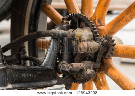Close look at a vintage car wheel Hub.