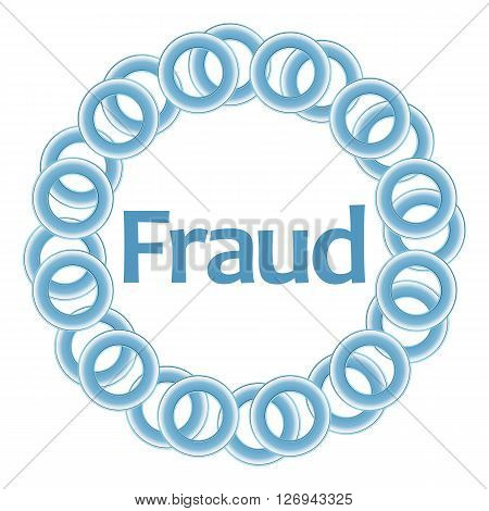 Fraud text alphabets written over blue circular background.