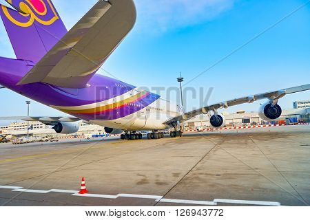 FRANKFURT, GERMANY - MARCH 13, 2016: Thai Airways A380 in Frankfurt Airport. The Airbus A380 is a double-deck, wide-body, four-engine jet airliner manufactured by Airbus.