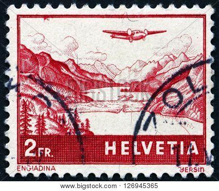 SWITZERLAND - CIRCA 1941: a stamp printed in the Switzerland shows The Engadine Valley in Graubunden circa 1941