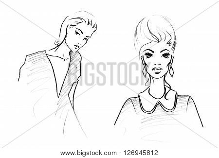 Fashion Sketch of Two Beautiful Woman. Hand Drawn Modern Beauty Concept in Black and White. Minimalism Art and Design. Monochrome Illustration.