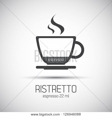 Cup of espresso ristretto simple vector icons