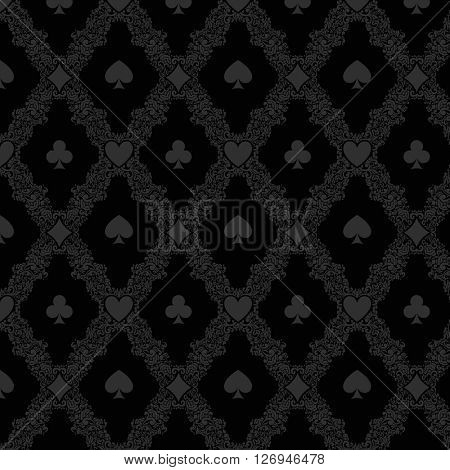 Black casino gambling poker background or dark  damask pattern and cards symbols. Seamless pattern is in the swatches palette.
